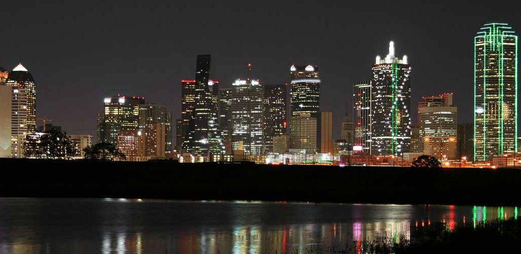 View of downtown Dallas at night from the Trinity River